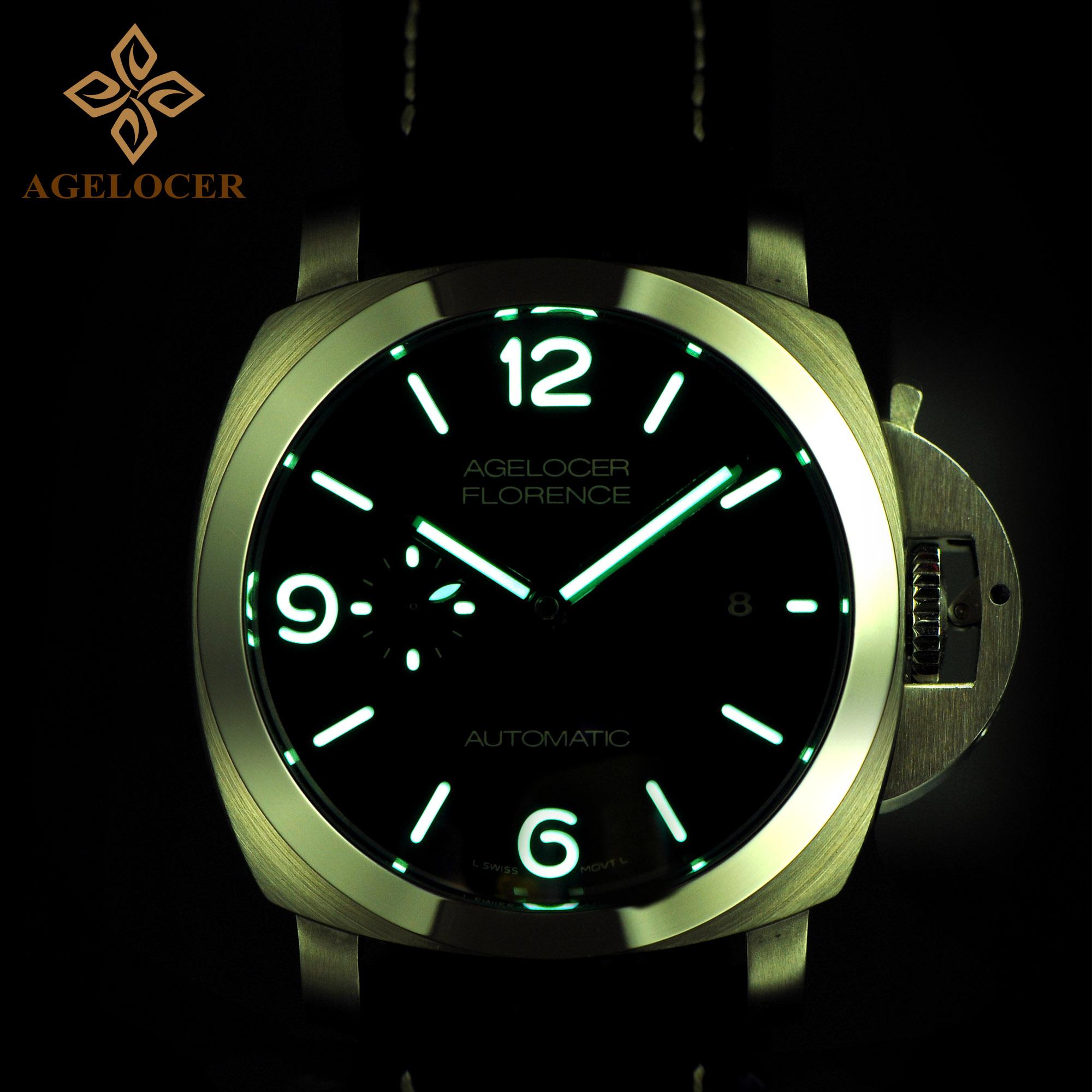 正品瑞士艾戈勒手表男士皮带夜光防水大表盘男表自动机械表军表