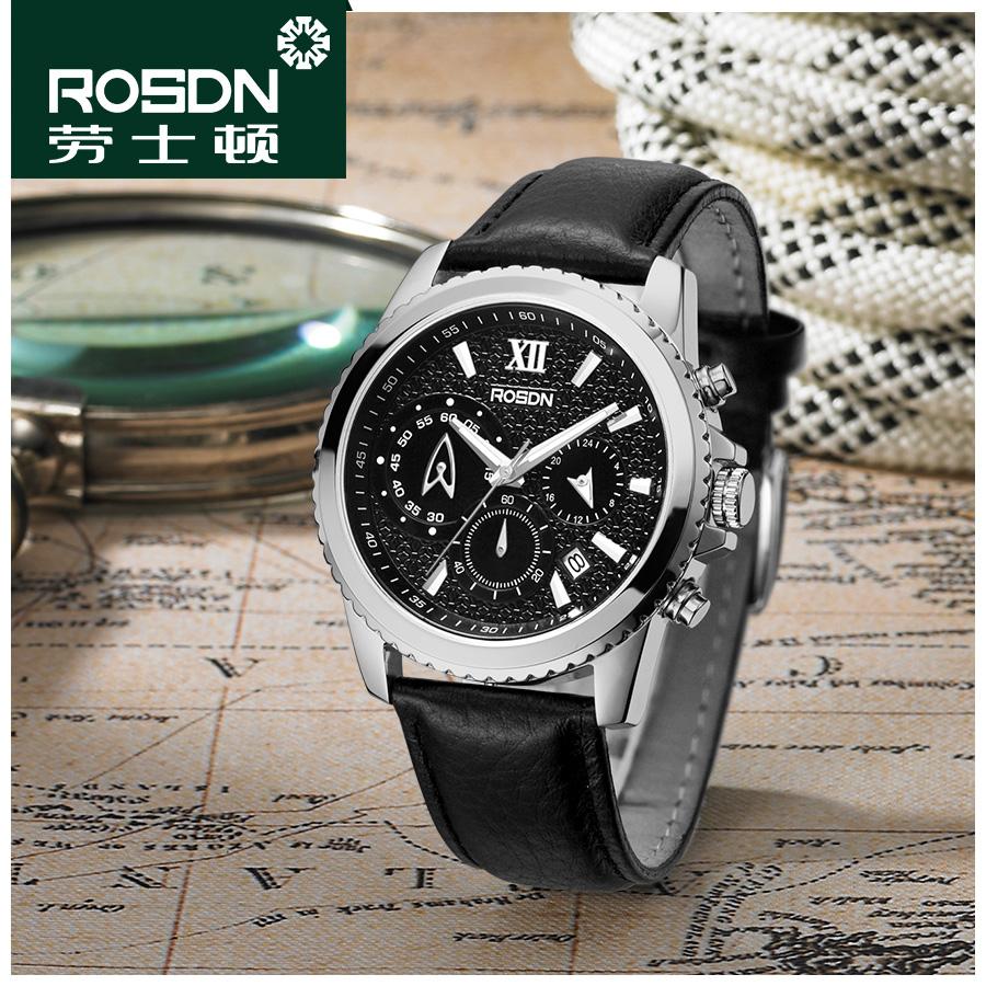 rosdn劳士顿石英表男士新款时尚防水正品运动男表皮带真皮手表