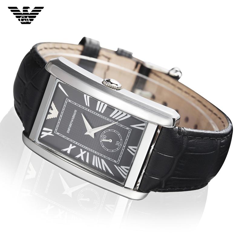 正品阿玛尼手表复古方形皮带男表女表石英表男情侣表一对方型女表