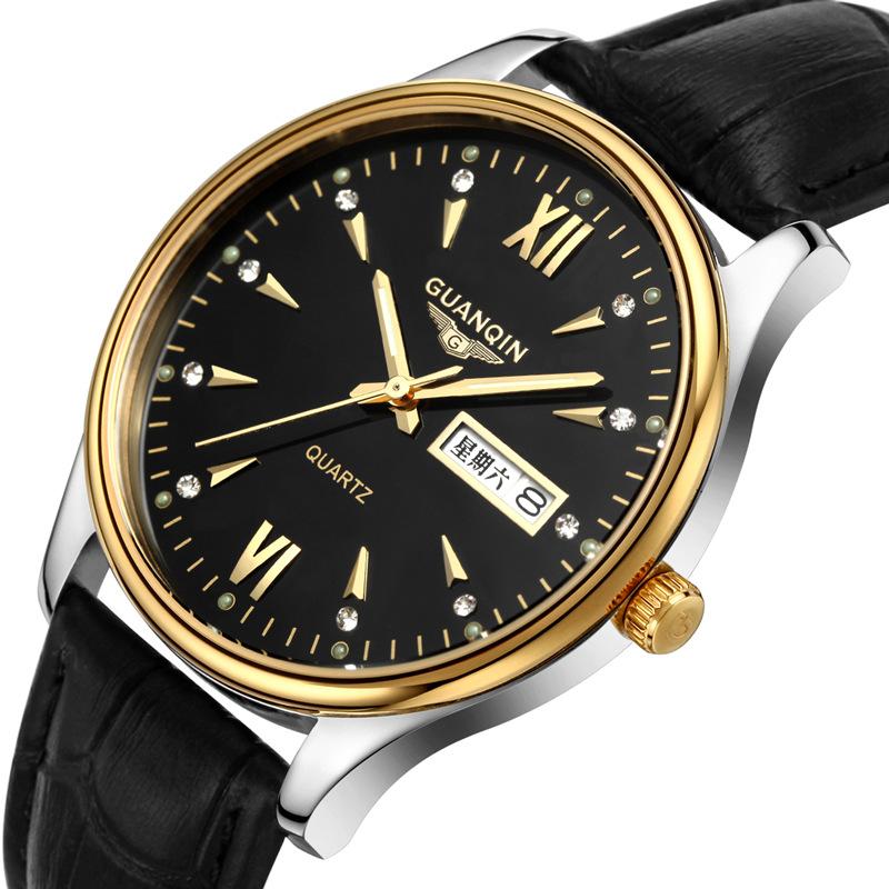 专柜正品瑞士冠琴手表防水商务男表夜光双日历腕表石英表真皮手表