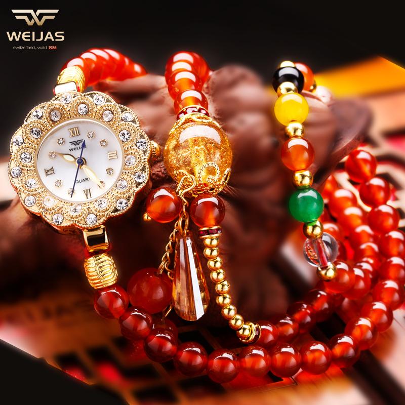 维加斯正品手表女巴西天然水晶玛瑙6MM韩版手链女表石英防水女表