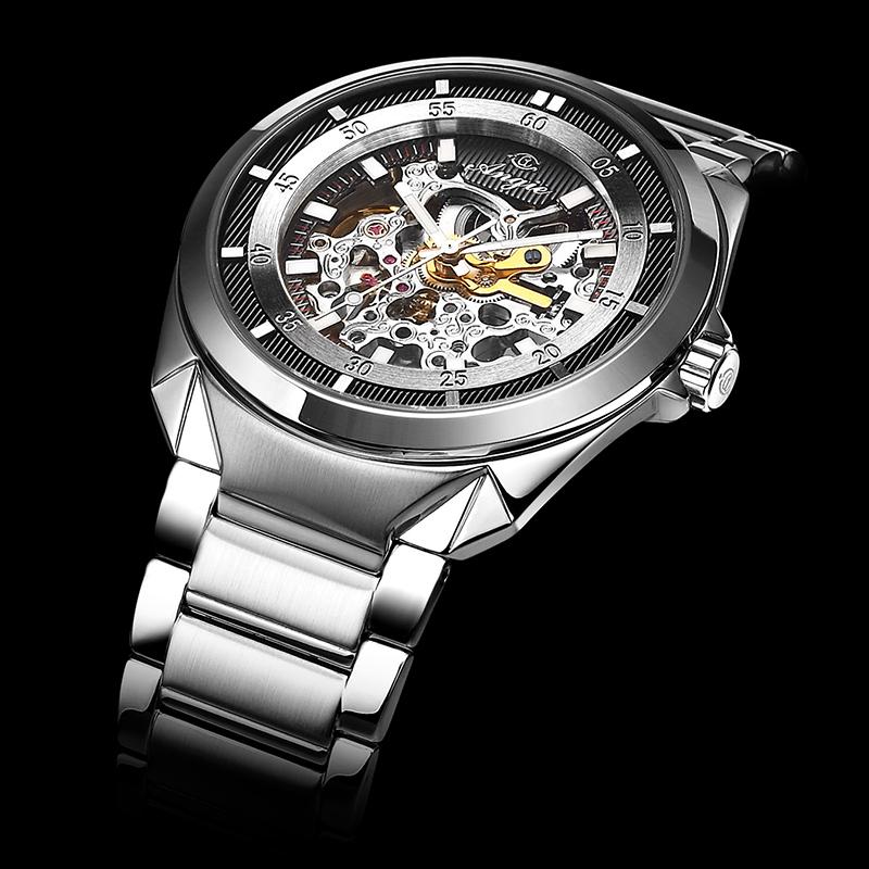 ANGIE正品 男士全自动机械手表时尚防水休闲精钢商务男表