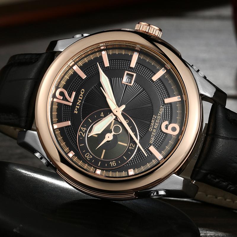瑞士品度正品男士手表皮带男表防水石英表 商务休闲日历夜光表