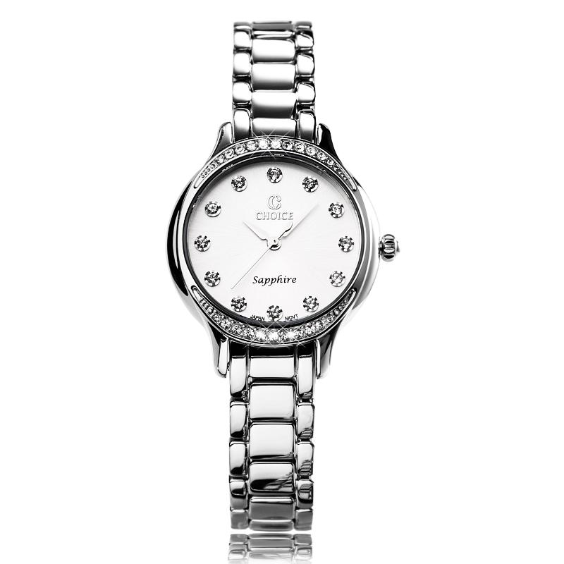 CHOICE镶钻女表正品潮流时尚女士石英手表防水精钢带腕表非机械表