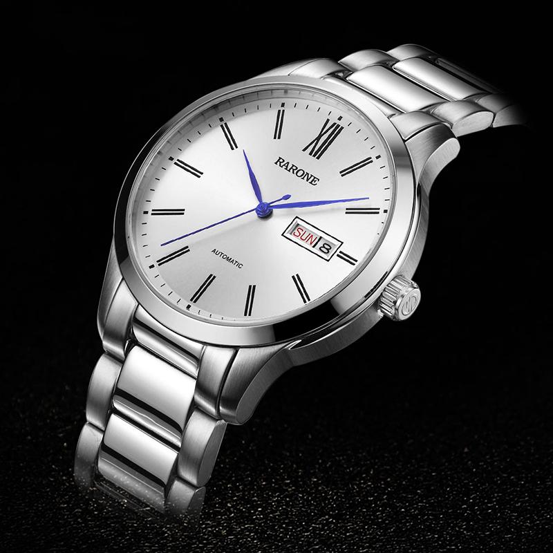 雷诺 男表 全自动机械表 男士手表 钢带防水星期日历透底正品