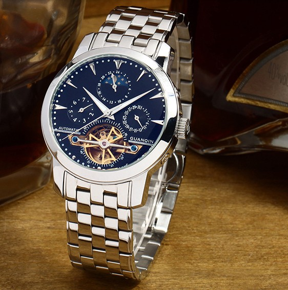 瑞士冠琴手表商务男表男士手表时尚男表陀飞轮全自动机械钢带男表