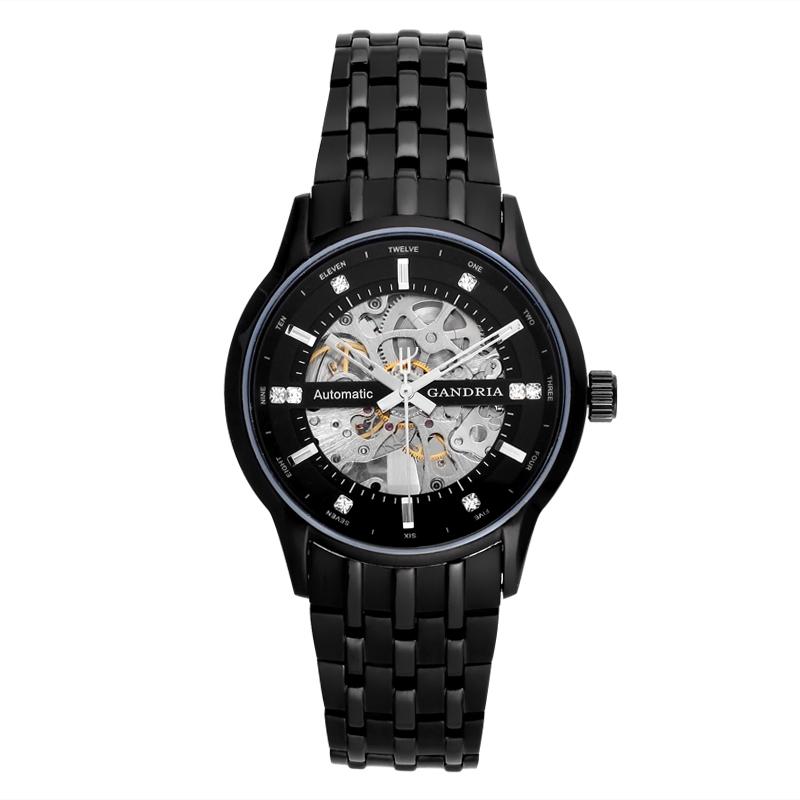 Gandria瑞亚手表 黑色男表全自动镂空机械表 男士手表 时尚正品