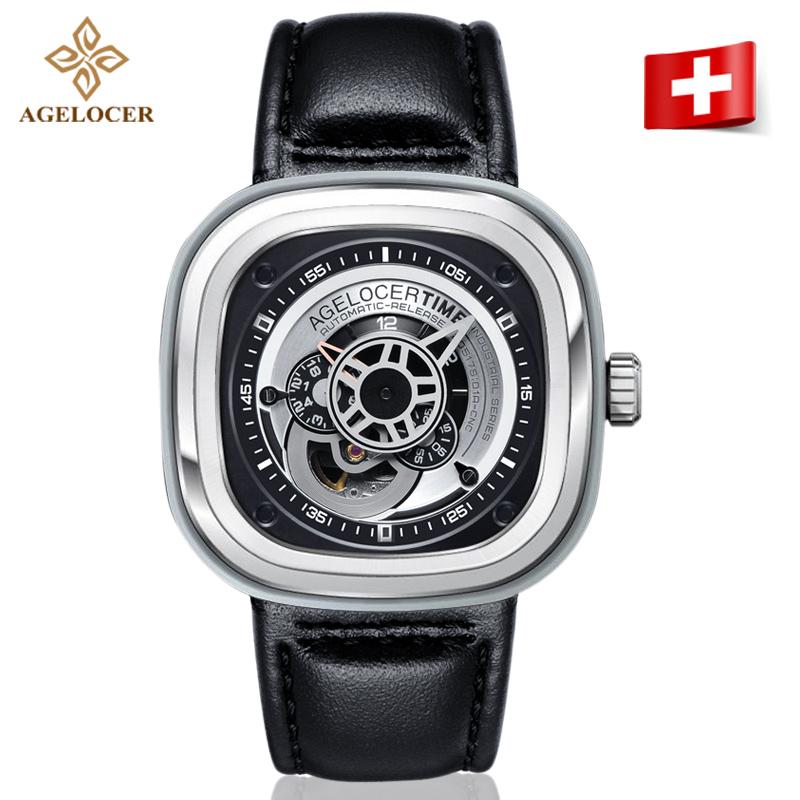 正品瑞士艾戈勒方形运动手表男士皮带防水大表盘男表机械表全自动