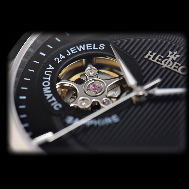 预售瑞士海士爵手表男士机械表 陀飞轮 钢带防水背透机械男表
