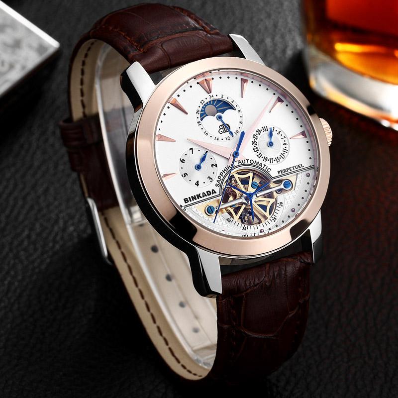 新款正品宾卡达瑞士手表男士全自动机械表镂空陀飞轮男表皮带钢带